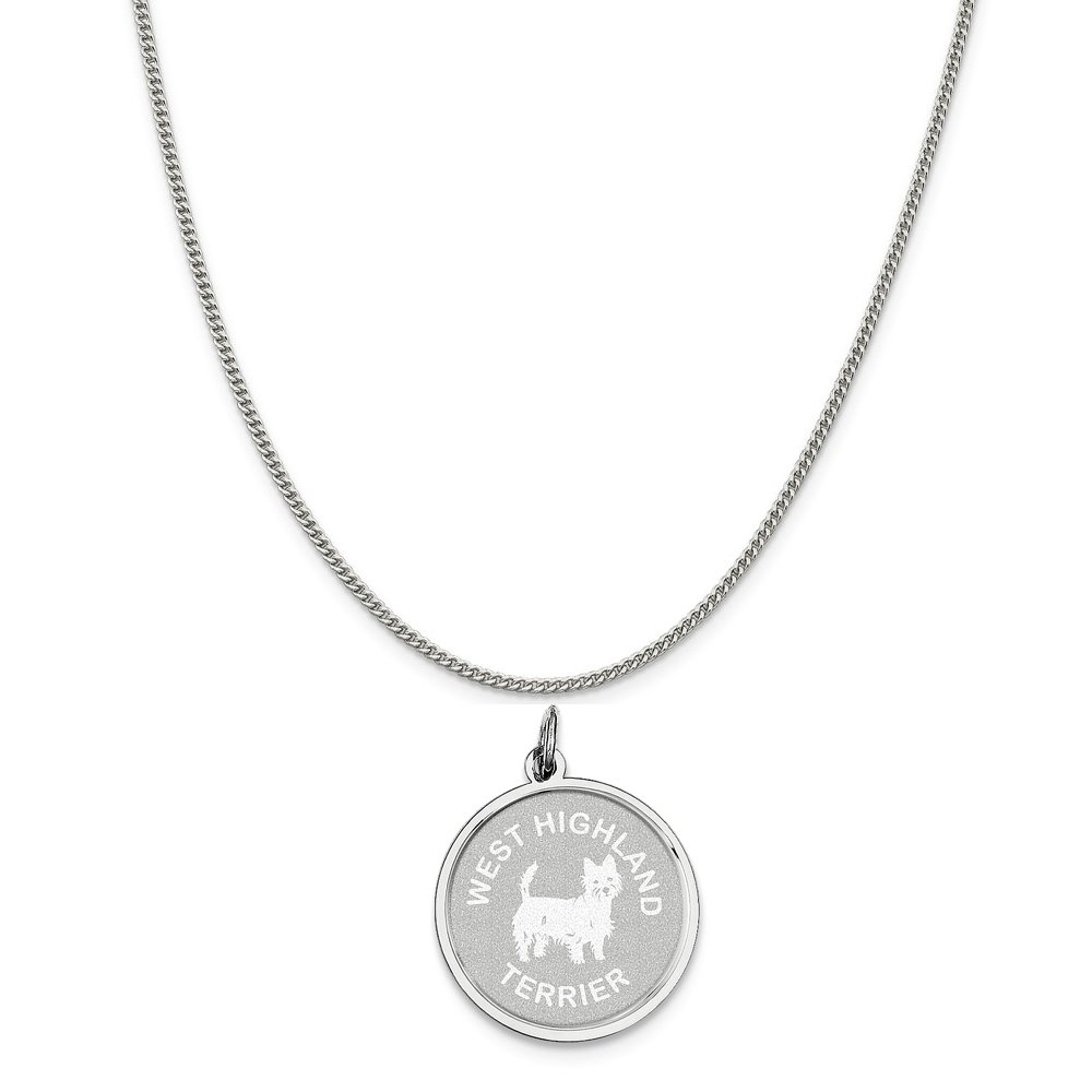 16-20 Mireval Sterling Silver West Highland Terrier Disc Charm on a Sterling Silver Chain Necklace