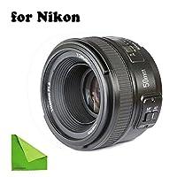 YONGNUO YN EF 50mm f/1 8 AF Lens YN50 Aperture Auto Focus for Nikon Cameras as AF-S 50mm 1 8G With EACHSHOT Cleaning Clothの商品画像