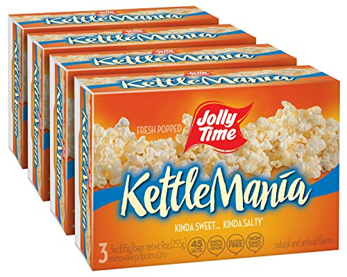 JOLLY TIME KettleMania Microwave Kettle Corn | Sweet & Salty Glazed Gourmet Popcorn (3-Count Box, Pack of 4) (Best Small Microwave Australia)