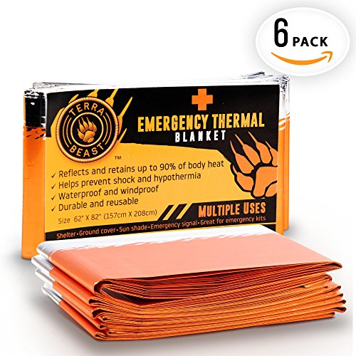 (Emergency Blanket XL (6 Pack), 20% Larger Than Other Brands For Maximum Protection - Reusable, Multi-Functional Survival Gear For Camping, Hiking and Outdoor Enthusiasts-Compact and Ultra Light Design)