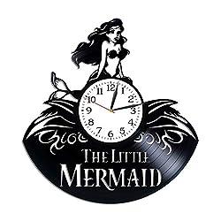 Kovides The Little Mermaid Room Art Lp Vinyl Retro Record Wall Clock Exclusive Cartoon Gift Birthday Gift for Kids The Little Mermaid Clock Xmas Gift Idea for Girls Walt Disney Art