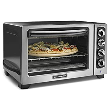 KitchenAid KCO234CCU 12  Convection Countertop Oven with Black Handle, Contour Silver