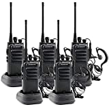Winmoom Adult walkie talkies Rechargeable Long Range Two-Way Radios with Earpiece 5 Pack UHF 400-480Mhz Li-ion Battery and Charger Included