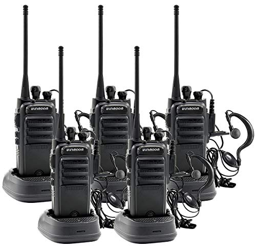 Winmoom Adult walkie talkies Rechargeable Long Range Two-Way Radios with Earpiece 5 Pack UHF 400-480Mhz Li-ion Battery and Charger Included ()