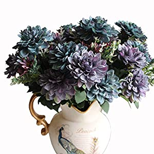 Htmeing 10 Heads Artificial Mum Gerbera Daisy Flowers Marigold Bouquet for Office Home Ceremony Decor, Pack of 2 (lightslategray) 70