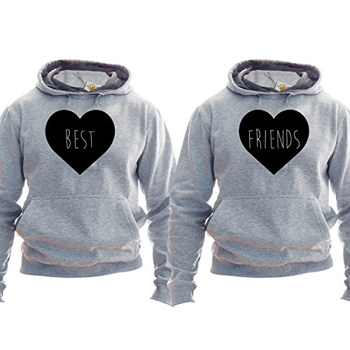 Best Friends Felpe For Two Matching Friends Hoodies Cute Hearts