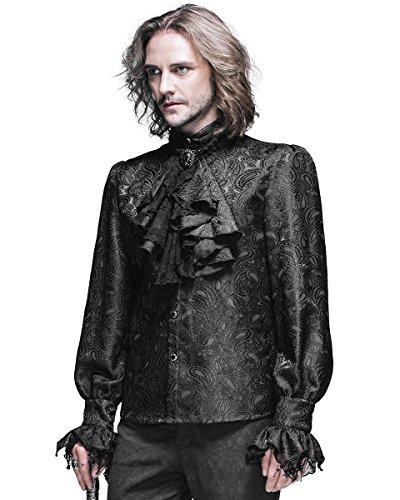 Gotico Foulard Camicia Steampunk Nero Fashion Regency Maglietta Aristocrat Mens Devil zqETY