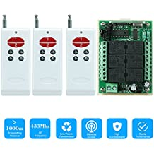 KKmoon 433Mhz DC 12V 6CH Channel Universal 10A Relay Wireless RF Remote Control Switch Receiver Module and 3PCS 6 Key RF 433 Mhz Transmitter Fixed Code (2262 Chip)