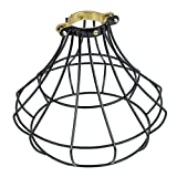 Rustic State Industrial Vintage Style | DIY Farmhouse Metal Wire Cage for Hanging Pendant Lighting | Light Fixture Lamp Guard Black