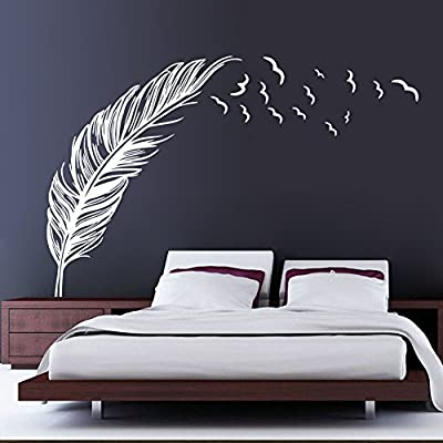 EMIRACLEZE Christmas Gift Hand-made Feather Fly Right Removable Mural Wall Stickers Wall Art Decal for Home Decor