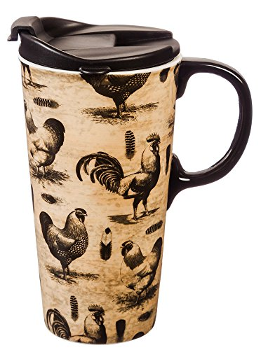 Cypress Home Sketch Rooster Ceramic Travel Coffee Mug, 17...