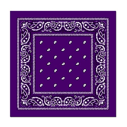 L&M 12Pcs Bandanas 100% Cotton Paisley Print Head Wrap Scarf Wristband (Purple)