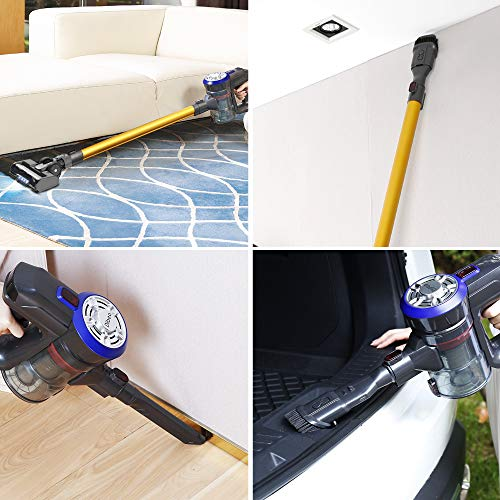 Dibea Upgraded 22KPa Cordless Stick Vacuum Cleaner Powerful Suction Bagless Lightweight Rechargeable 5 in 1 Handheld Car Vacuum for Carpet Hard Floor, D18Pro
