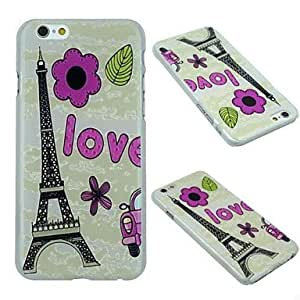 Flowers of Eiffel Tower Pattern PC Hard Protective Shell Case for iPhone 6 Plus