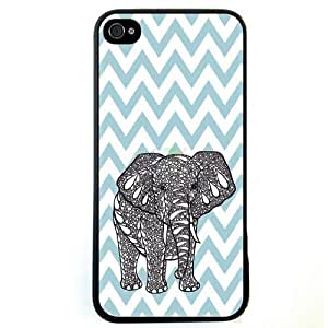 LJF phone case Generic Chevron Wave Print Elephant Hard Case Back Cover Case for Apple ipod touch 4 - Non-Retail Packaging - Multi