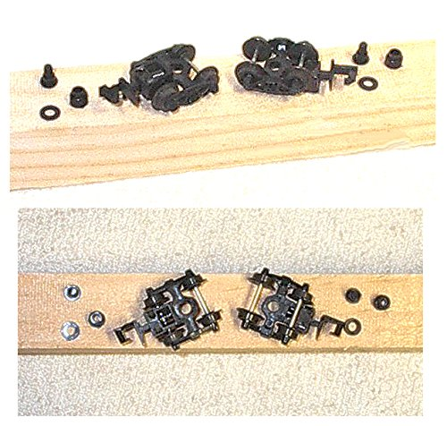 Rapido Couplers - 1/160 N Scale - ONE PAIR of Rapido style trucks w/METAL wheels, Couplers and Kin Pin accessories - ALL BLACK