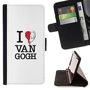 - EAR RED VAN BLOOD QUOTE ART GOGH - - Prima caja de la PU billetera de cuero con ranuras para tarjetas, efectivo desmontable correa para l Funny HouseFOR Apple Iphone 6 PLUS 5.5