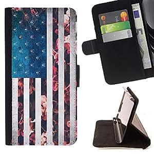 King Art - Premium-PU-Leder-Prima caja de la PU billetera de cuero con ranuras para tarjetas, efectivo Compartimiento desmontable y correa para la mu?eca FOR Samsung Galaxy Note 4 SM-N910 N910 IV- America Flag