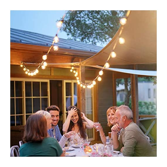 Outdoor String Lights LED Newpow 48ft with 23+2 Spare Bulbs -Clear Glass, Dimmable Waterproof, 1W 60LM 2200K Warm Glow… - 【Beautiful color and plenty of lights】Perfect ambient lighting- just like dining at a fine outdoor restaurant. They replicate the lighting effect of incandescent filament lamps. Solved the defects of dim, short life and overheating. That produces a glow like incandescent filaments. 【Bulb Stylish and Easy to Install 】2ft spacing between sockets. 23 sockets per cord. Total length is 48ft, yet uses up to 90% less power than incandescent bulbs. With an average lifespan of 10,000 hours. End to end connects up to 20 strands. 【IPX6 Waterproof】Commercial grade high quality is perfect for permanent outdoor lighting, UL certified string light can withstand extreme temperatures, rain, wind or wet weather, Unlike traditional ropes, they are more durable. - patio, outdoor-lights, outdoor-decor - 51nNCWzi6FL. SS570  -