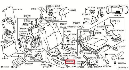 Infiniti Genuine Seat Front Seat Right Switch Assy 87016-1MA2A M HYBR