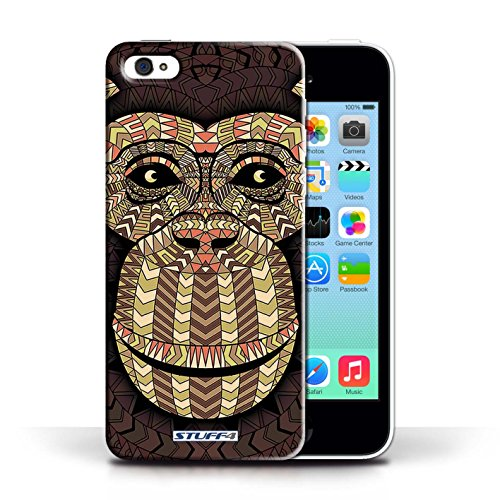 iCHOOSE Print Motif Coque de protection Case / Plastique manchon de telephone Coque pour Apple iPhone 5C / Collection Motif Animaux Aztec / Singe-Sépia