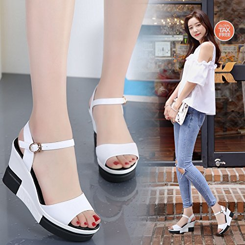 Fille Sandales Dit Cool Élégante De Pantoufles Heeled Jeune Nez Imperméable EU36 Épais SHOESHAOGE Simple À Génoise Hill Femme La Poisson High A zgfTXB