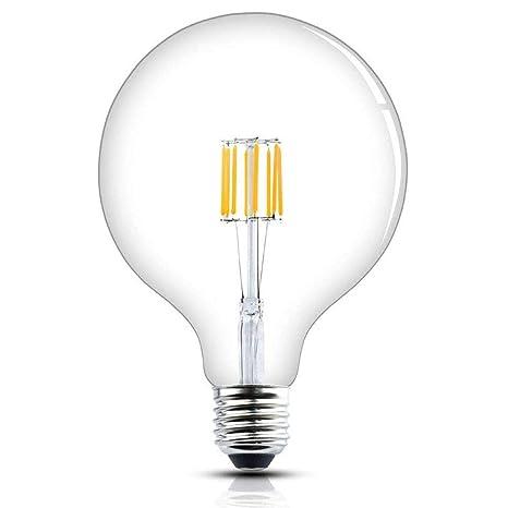 Luxvista Sin-Parpadeo 8W G125 E27 Regulable Grande Globo Vintage Edison Bombilla LED Decorativa con