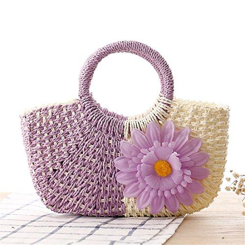 paglia borsa Viola donna fiore Pochette ragazze a Borsa Sun Dunland da Naturale borsa mano Piccolo di qgxWZPI5R
