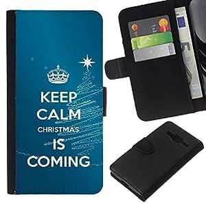 All Phone Most Case / Oferta Especial Cáscara Funda de cuero Monedero Cubierta de proteccion Caso / Wallet Case for Samsung Galaxy Core Prime // Calm Keep Coming Blue Christmas Blue
