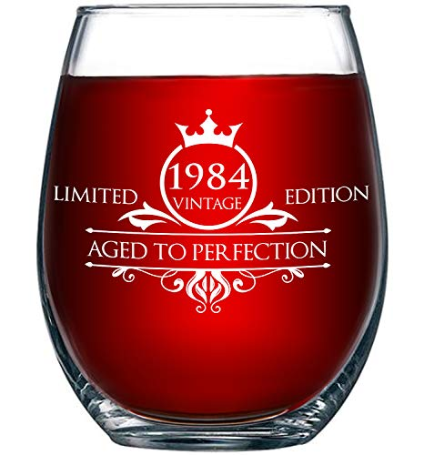 1984 35th Birthday Gifts for Women and Men Wine Glass - Funny Vintage Anniversary Gift Ideas for Mom, Dad, Husband or Wife - 15 oz Glasses for Red or White Wine - Party Decorations for Him or Her