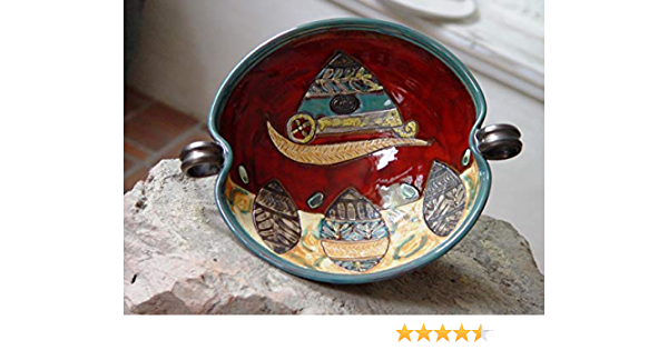 Hand Painted Decor Hand Thrown Kitchenware B0114 Handmade Pottery Gift Speckled Blue Stoneware Ceramic Bowl