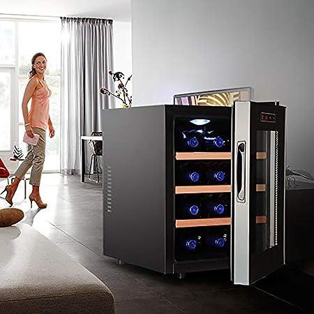 VIY Nevera vinos Vinoteca Temperaturas Ajustables de 11 a 18 °C Panel de Control táctil Iluminación Interior LED 3 Estantes extraíbles, Volumen de 33 L hasta 12 Botellas Negro,B