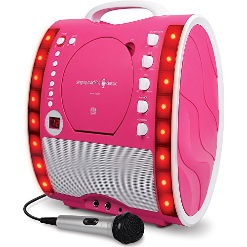 singing-machine-portable-plug-and-play-cd-g-karaoke-system-with-microphone-and-disco-lights-pink