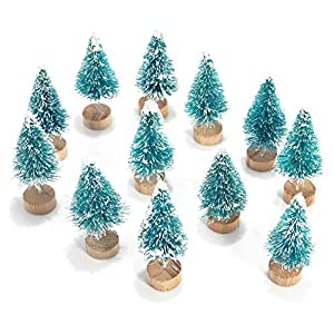 6MILES Artificial Mini Sisal Christmas Trees Snow Frost with Wooden Bases for Home Party Decoration Ornament DIY Craft 112