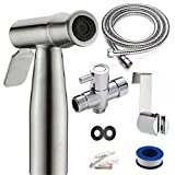Baby Cloth Diaper Sprayer by Luxx Nest- Bidet Spray in Stainless Steel Brushed Nickel- Handheld Shattaf Set- Reusable Hand holder Bathroom Toilet Attachment Kit- High Water Pressure-No Leaks or Splash