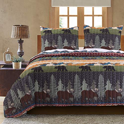 Adirondack Home Decor - Greenland Home Black Bear Lodge Quilt Set, 3-Piece Full/Queen