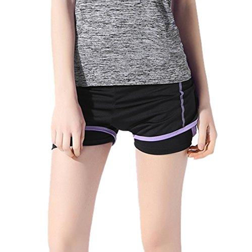 Encounter 2 in 1 Damen Shorts Kurze Hosen Yogahose Sporthose Trainingshose Jogginhose Pants Stretch Short (Lila, L)