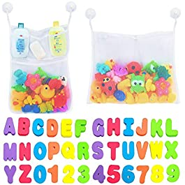 Comfylife 2 x Mesh Bath Toy Organizer + 6 Ultra Strong Hooks + 36 Bath Letters & Numbers – Eco-Safe, Fun, Educational…