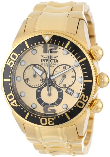 Invicta Men's 14204 Lupah Chronograph Gold Dial 18k Gold Ion-Plated Stainless Steel Watch