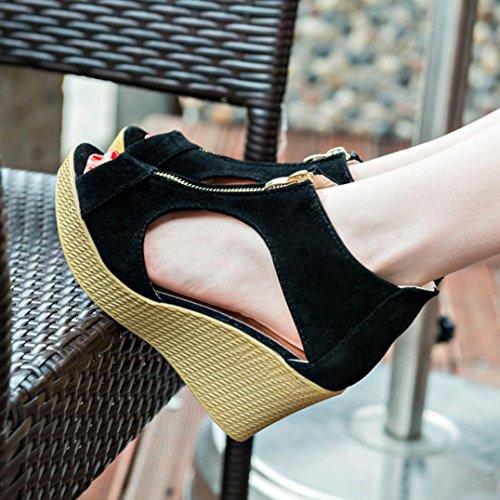 Des Saingace De Toe D'été Zip De forme Peep Bout Noir Casual Sandales Chaussures Femmes Sandales Cheville Sandales Peep Les Plate À La Coins Chaussures Bride nPTg8Xqxz