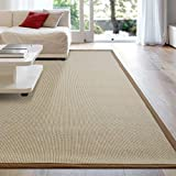 iCustomRug Zara Synthetic Sisal Collection Rug and Runners, Softer Than Natural sisal Rug, Stain Resistant & Easy to Clean Beautiful Border Rug in Gold 8'6 x 12'