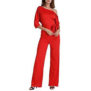 2f65696b509 Amazon.com  Solid Color Elegant Jumpsuits for Women Party Evening Wedding  2017 Red L  Clothing