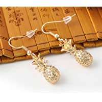 paweena Fashion Cute Fruit Pineapple Design Gold Tone Dangle Earrings OL Gift