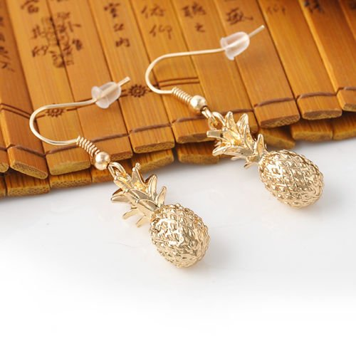 Screw Design Back Earrings (paweena Fashion Cute Fruit Pineapple Design Gold Tone Dangle Earrings OL Gift)