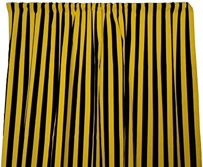 lovemyfabric Cotton 1 Stripe Print Curtain Panel 58 Wide Home Decor Window Treatment Photography Backdrop Perfect for Children s Bedroom, Nursery, Party, Kitchen 120 Tall, Yellow Black