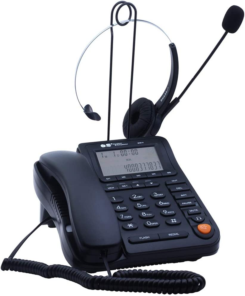 JeKaVis J-P17 Call Center Corded Phone Headset with Caller ID Auto Answering, Noise Cancelling Monaural Landline Telephone for Office Home