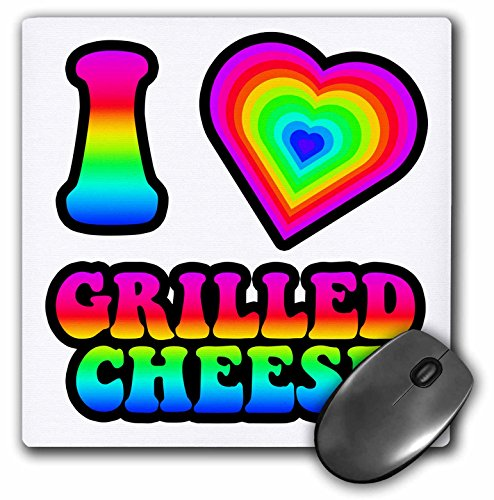 3dRose Dooni Designs - Groovy I Heart Love Designs - Groovy Hippie Rainbow I Heart Love Grilled Cheese - Mousepad (mp_217436_1)