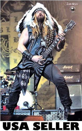Zakk Wylde Indian outfit POSTER 23.5 x 34 Black Label Society (sent FROM USA in PVC (Label Society Poster)