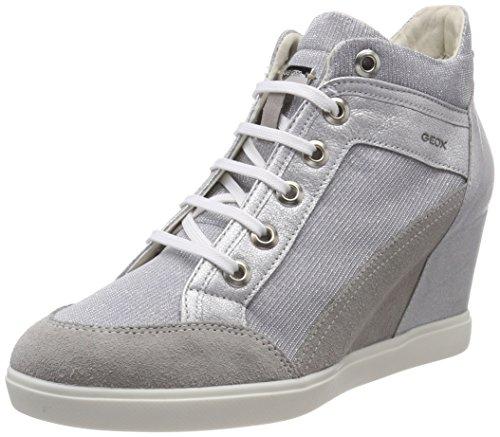 Alto Donna Lt C Grey Silver Grigio Sneaker Geox a D Eleni Collo qZA0Y