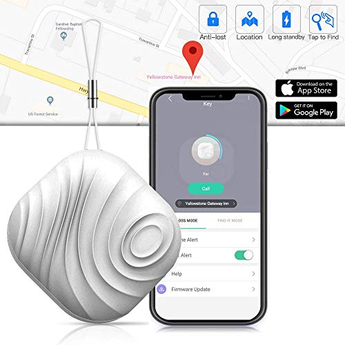 Key Finder Smart Anti-Lost Tracker- Luxsure Cellphone, Wallet, Bags and Pet Item Tracker Mini Locator with App Control Compatible for iPhone/iPod/iPad/iOS/Android (White)